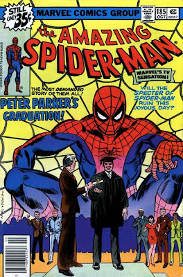 Amazing Spider-Man #185, Spider-Man looms large over proceedings as Peter Parker graduates, watched by his regular cast