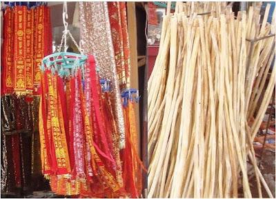 Jai Mata Di ribbons and sticks used at Vaishno Devi