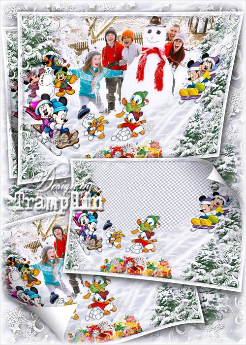 Зимний исходник для детских и семейных фото – Лепим снеговика с героями Диснея