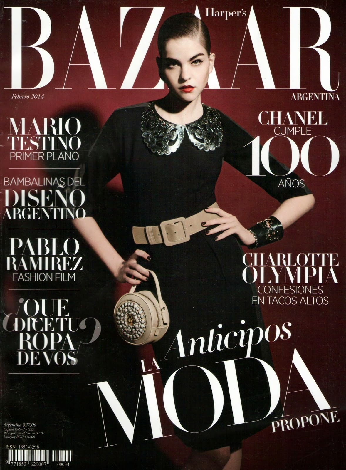 Valerianne Le Moi HQ Pictures Harper's Bazaar Argentina Magazine Cover February 2014
