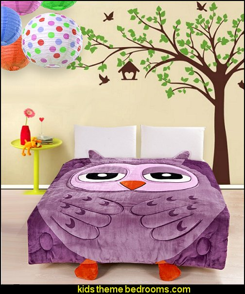 owl quilt tree wall decals bird wall decals owl theme bedrooms - Ideas For Bedroom Decorating Themes