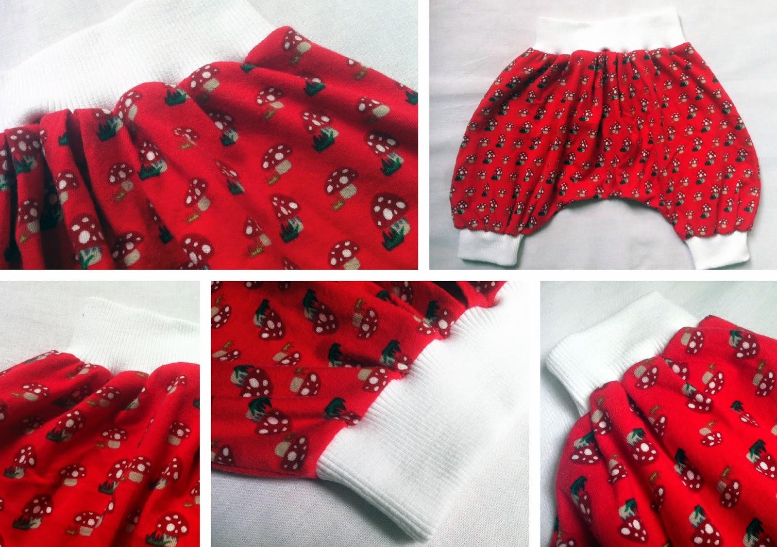 Pumphose Poppy nach Pattydoo im Fliegenpilz-Design, roter Jersey mit Fliegenpilzen, weiße Bündchen