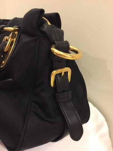 8dc3b3c9b3 Authentic Prad BN1903 Tessuto Nylon Top Handle Convertible Bag - Black.  (SOLD)