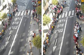 La calle minutos antes de la llega de la Vuelta
