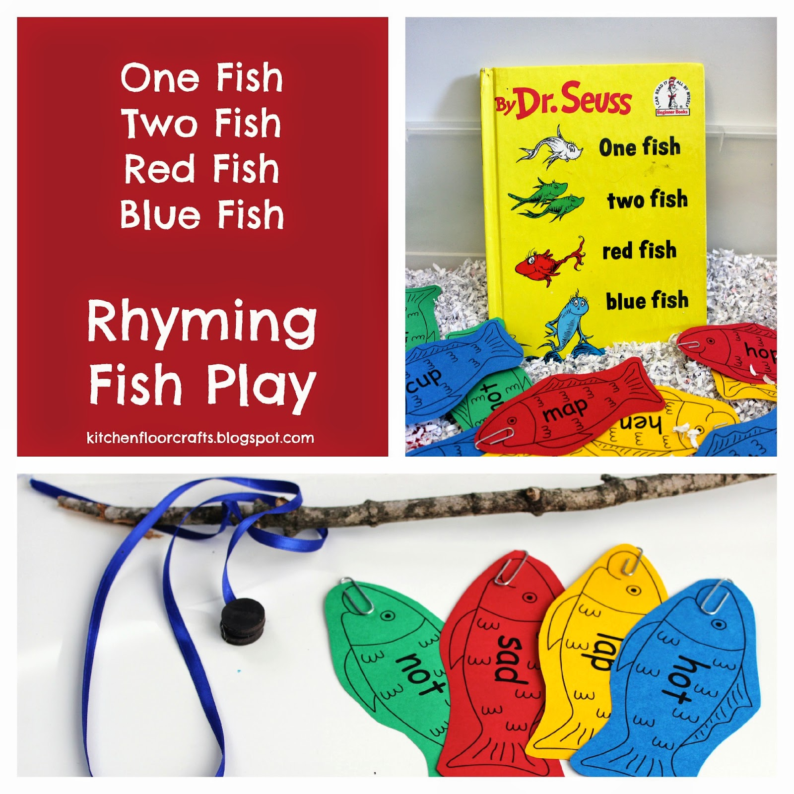 Kitchen Floor Crafts: Rhyming Fish Play with Dr. Seuss