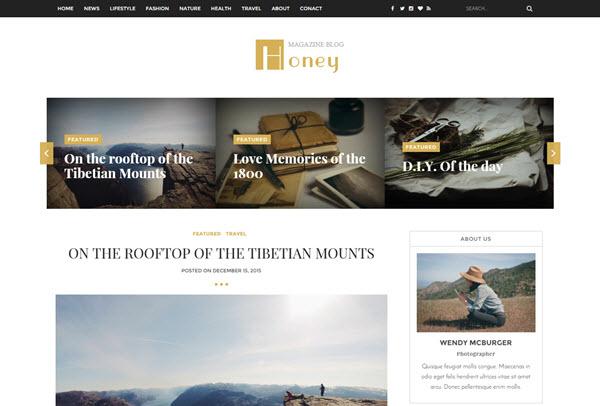 Honey responsive blogger template