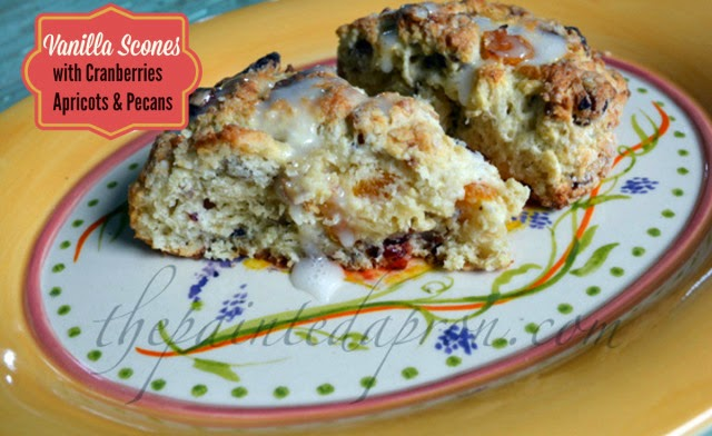 Featured Recipe | Vanilla Scones with Cranberries, Apricots, & Pecans from The Painted Apron #recipe #SecretRecipeClub