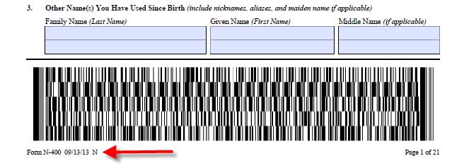 Puede encontrar la fecha de edición del formulario al final de cualquier página.