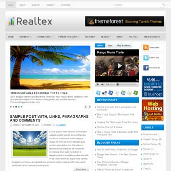 Realtex blog template. template image slider blog. magazine blogger template style. wordpress theme to blogger. template blog 3 column