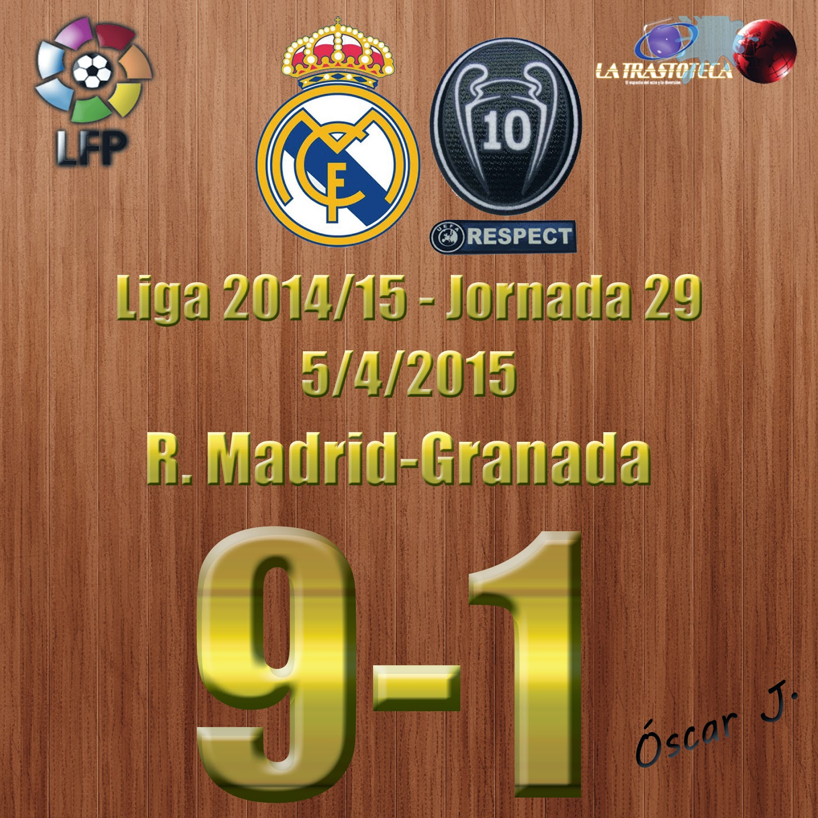 Benzema (Doblete) - Real Madrid 9-1 Granada - Liga 2014/15 - Jornada 29 - (5/4/2015)