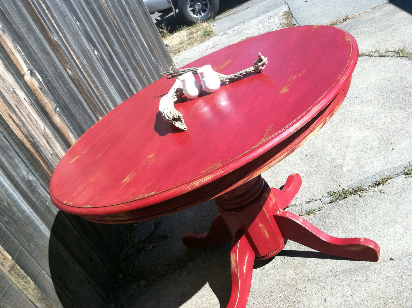 Beautiful Red Distressed Pedestal Table