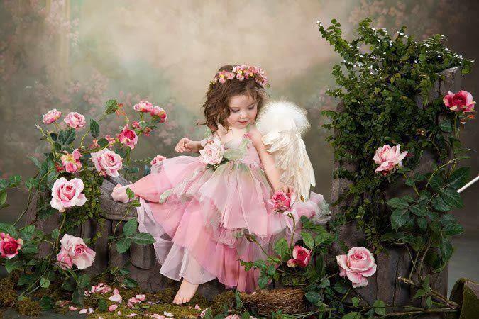 image enfant roses