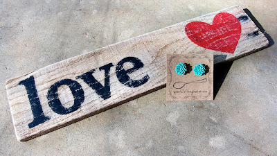 """Love"" sign and teal earrings by Spoonful of Imagination"