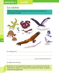 Apoyo Primaria Español 1er grado Bimestre 4 lección 3 La coma