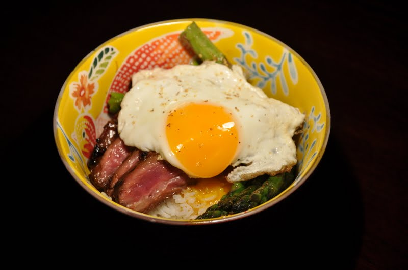Slice of Rice: Korean Rice Bowl with Steak, Asparagus and Fried Egg