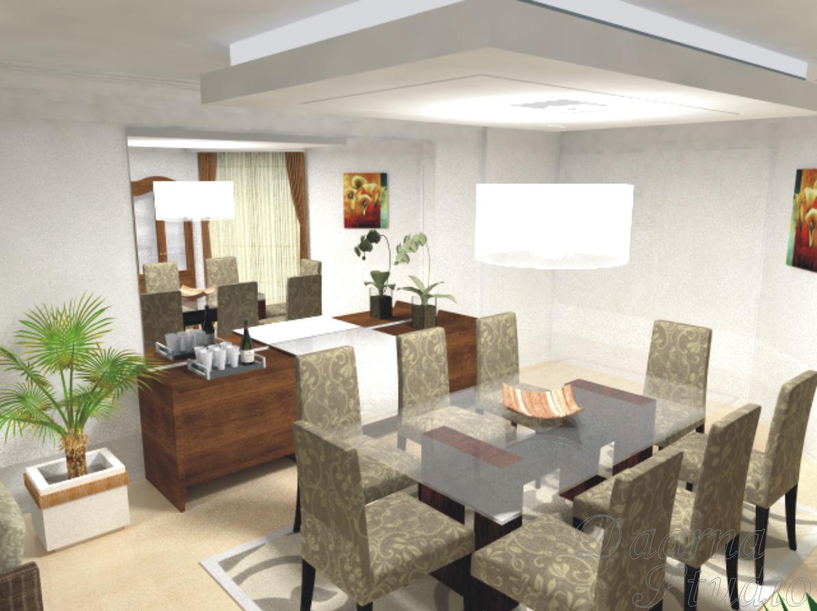Sala De Jantar Com Tapete De Couro ~  Arquitetura & Interiores Imagens 3D  Sala de Jantar e EstarTV