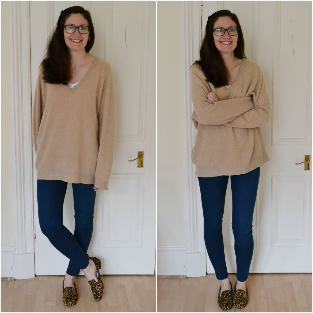 cashmere sweater jeggings M&S charity shop leopard shoes