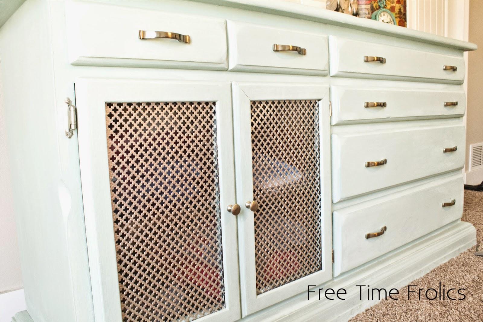 metal mesh doors for dresser redo www.freetimefrolics.com