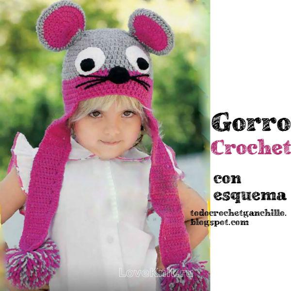 Gorro infantil con motivo de ratón orejas ojos pompones para tejer al crochet