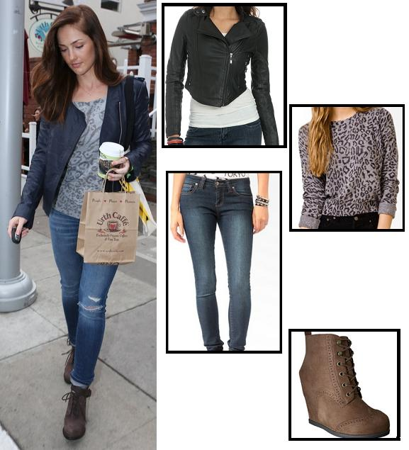 boots, celebrity street style, celebrity style, fashion, forever 21, jacket, jeans, minka kelly, street style, friday night lights, super style steals, sweater, target, wet seal, get the look, look for less, budget fashion