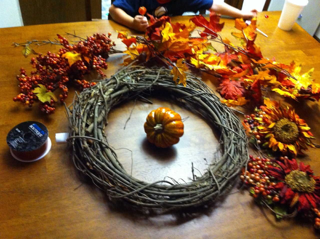 We Got A Grapevine Wreath Which I Found Out Am Allergic To Fall Garland Some Flowers Couple Pumpkins Colored Berries And Pretty