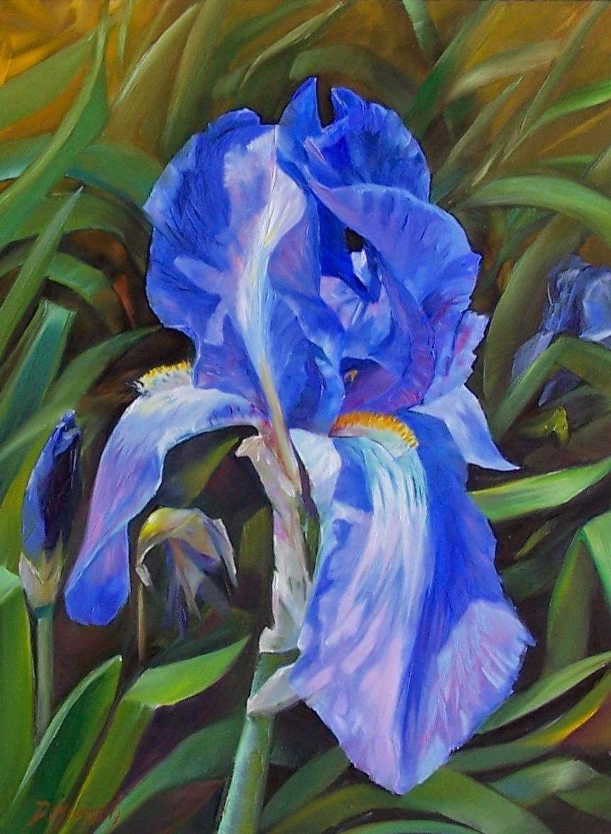 Donna munsch fine art original oil painting blue iris original oil painting blue iris izmirmasajfo