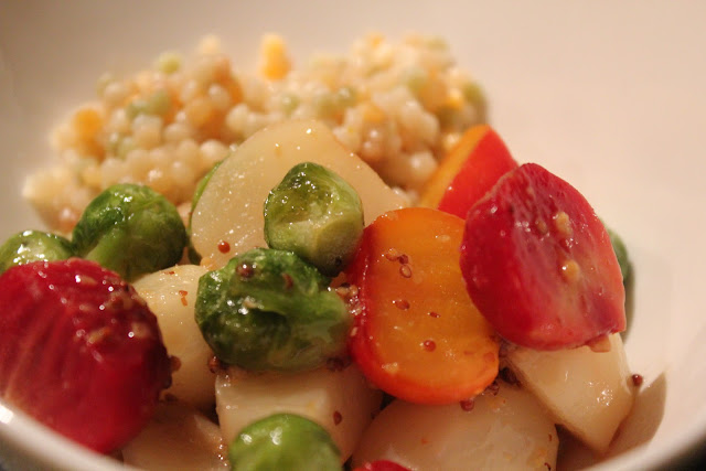 Maple-glazed baby vegetables