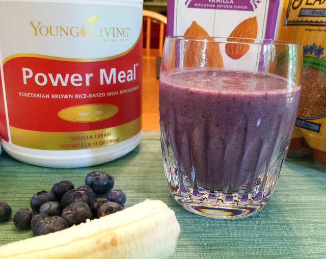 Power Smoothie Recipe using fresh berries, bananas, almond milk, and power meal.