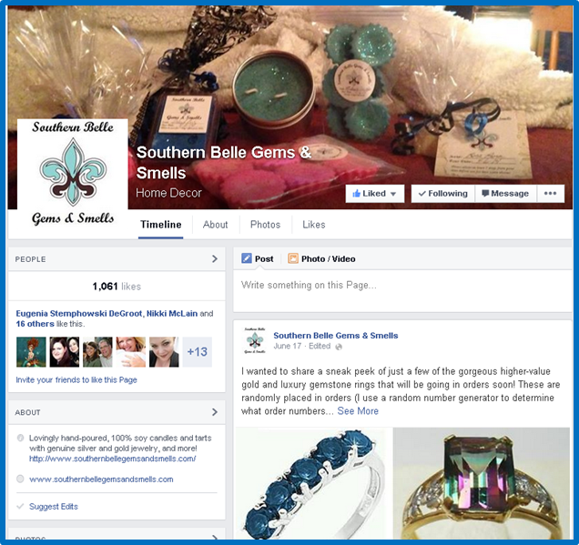 Southern Belle Gems and Smells Facebook Page