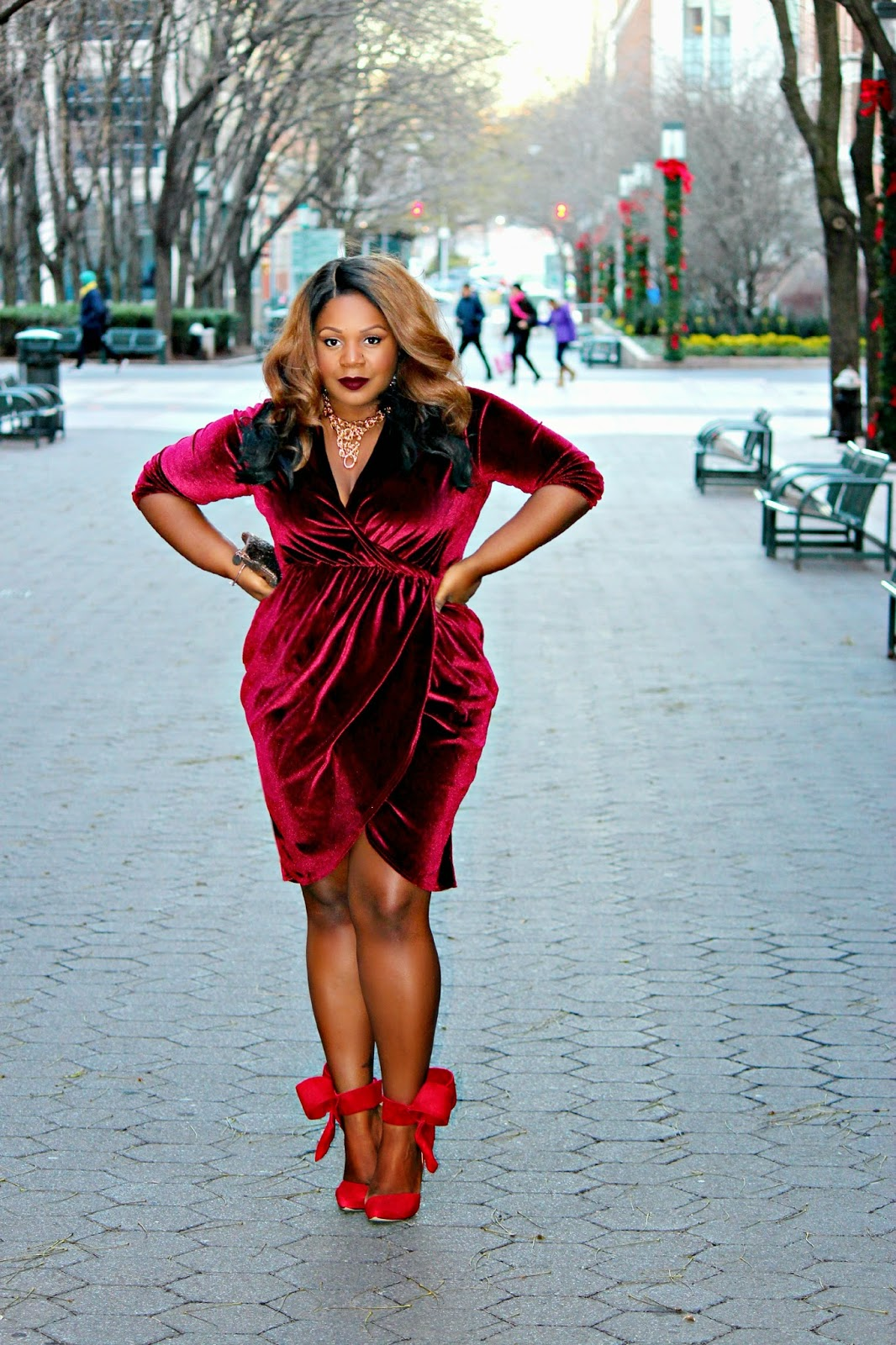 plus size holiday dress, aminah abdul jillil red suede bow pumps heels
