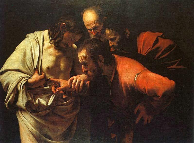 Thomas yang peragu menyentuh Yesus, lukisan karya Caravaggio