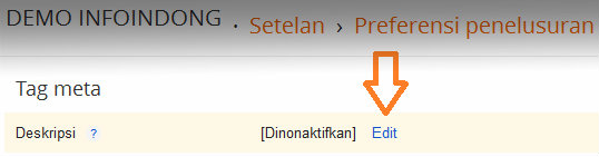 Edit meta tag deskripsi homepage