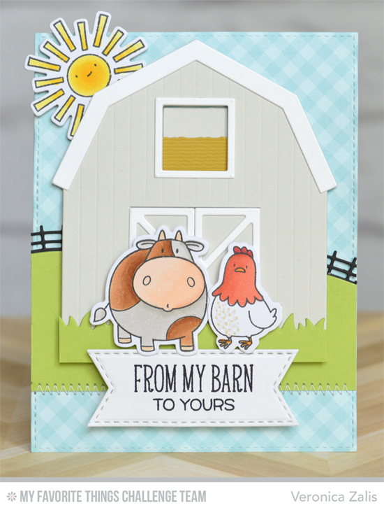 From My Barn to Yours Card by Veronica Zalis featuring the Birdie Brown The Whole Herd stamp set and Die-namics, Miss Tiina Things with Wings stamp set and Die-namics, and the Barn Die-namics #mftstamps
