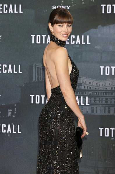 Jessica Biel in a sexy backless black gown at the Berlin premiere of her movie, 'Total Recall', held at the Sony Center in Berlin, Germany.