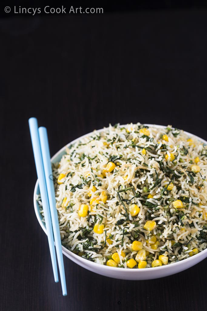 Spinach Sweetcorn fried rice
