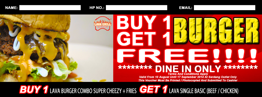 buy 1 free 1 burger lava grill malaysia