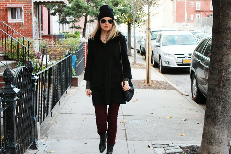 Fall style black beanie Joe Fresh cape coat Rag & Bone cords Alexander Wang Anouck boots Ray-Ban aviators