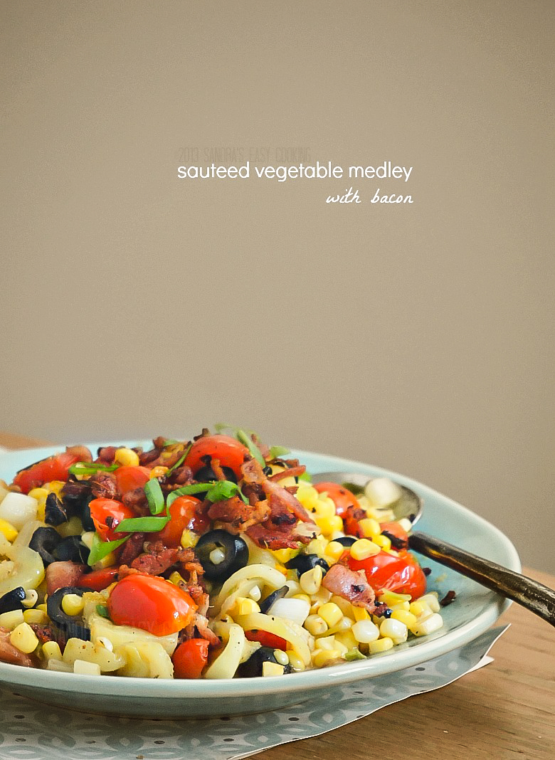 Simple and delicious recipe for Sauteed Vegetable Medley with Bacon