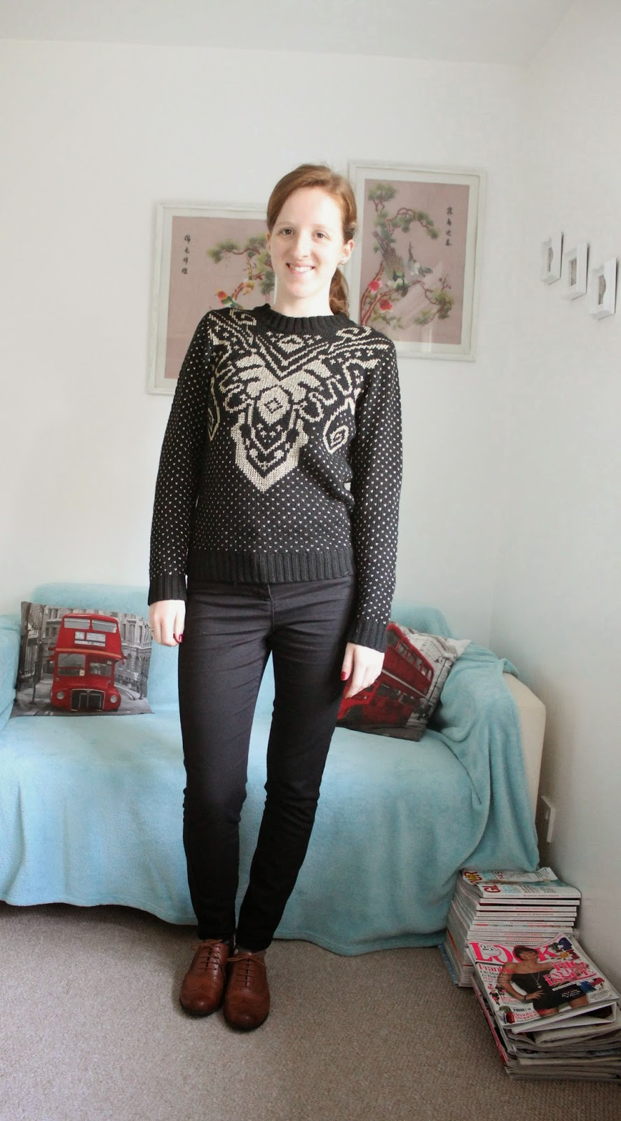 OOTD Baroque Jumper and Brogues