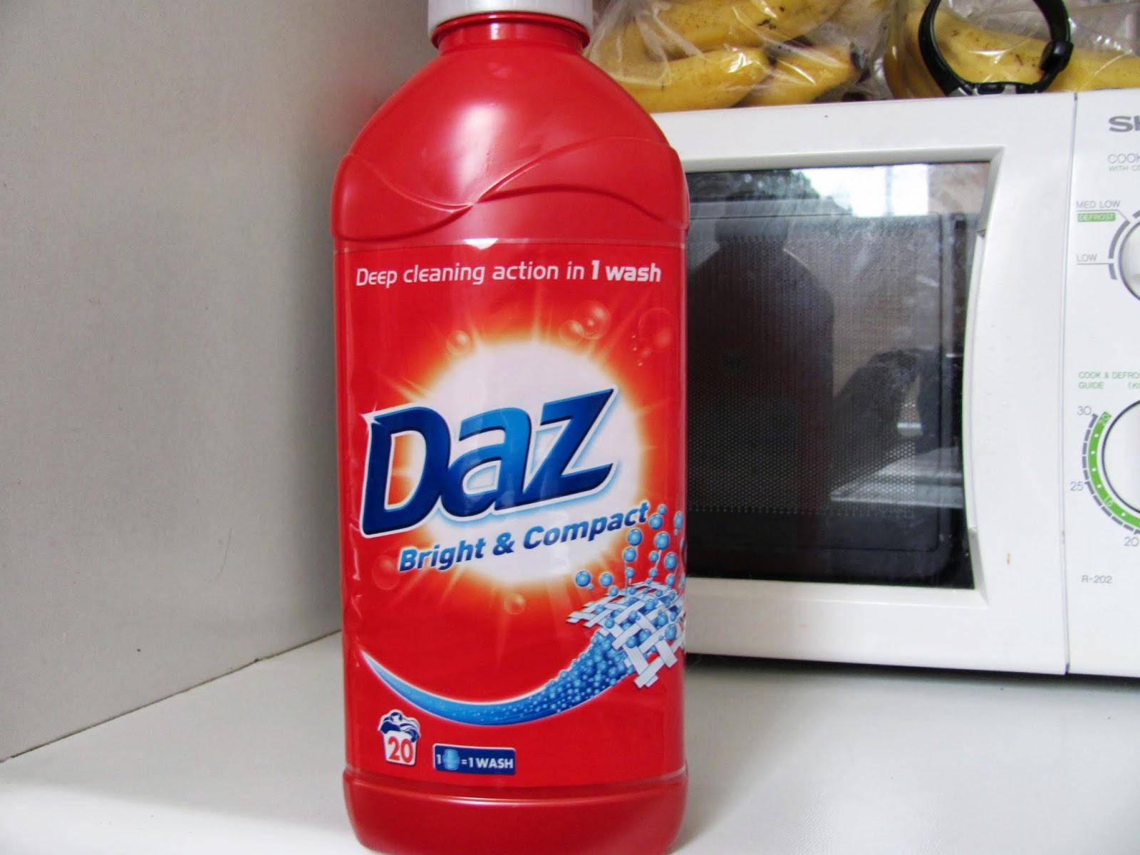 Daz laundry soap in a red bottle