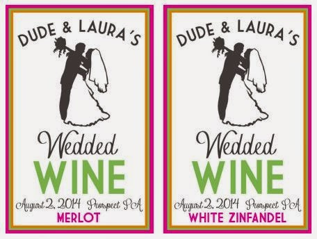 Doeblerghini Bunch:  Around Here Update - Custom Wedding Wine Labels