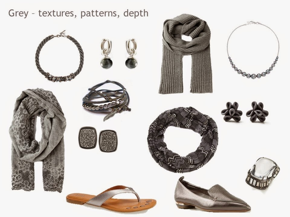 "a silver and grey ""family"" of accessories, including jewelry, scarves and shoes"
