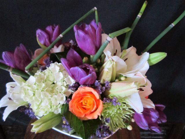 Bed of roses floral design engagement party floral for Flower arrangements for parties