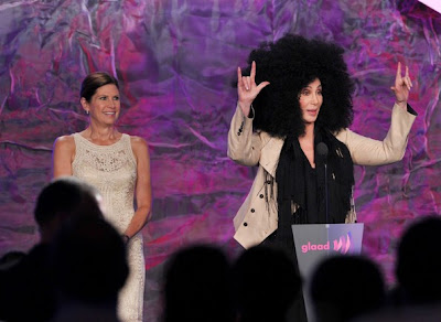 Cher mid-speech at the GLAAD Awards