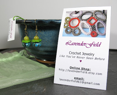 Lavender Field business card w/ earrings