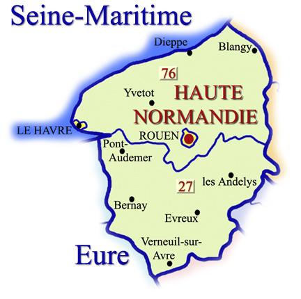 Carte de haute normandie r gion carte france d partement - Chambre des notaires haute normandie ...