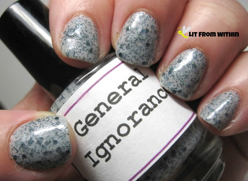 LynBDesigns General Ignorance, a milky grey crelly with black and holo glitter