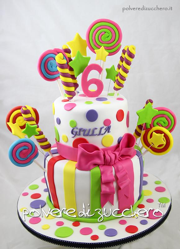 torta caramelle candy cake pasta di zucchero torta decorata cake design polvere di zucchero