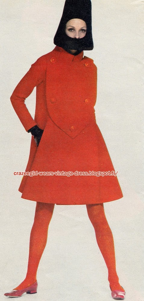 dress coat 1966  Pierre Cardin 60s 1960 red