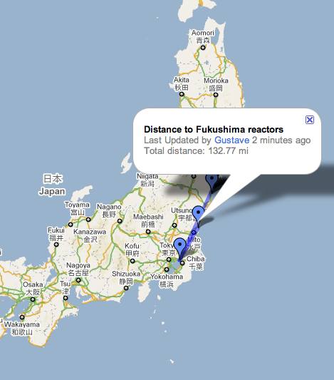fukushima nuclear power plant on map. nuclear power plant.